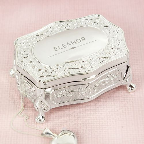Silver Antique Style Trinket Box Personalized With any Name Gift For Her
